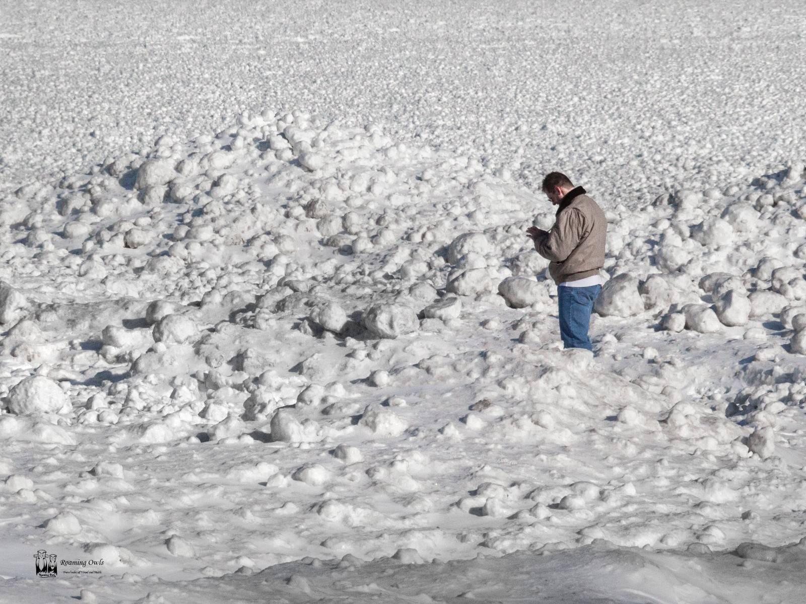 snow, man , lake erie