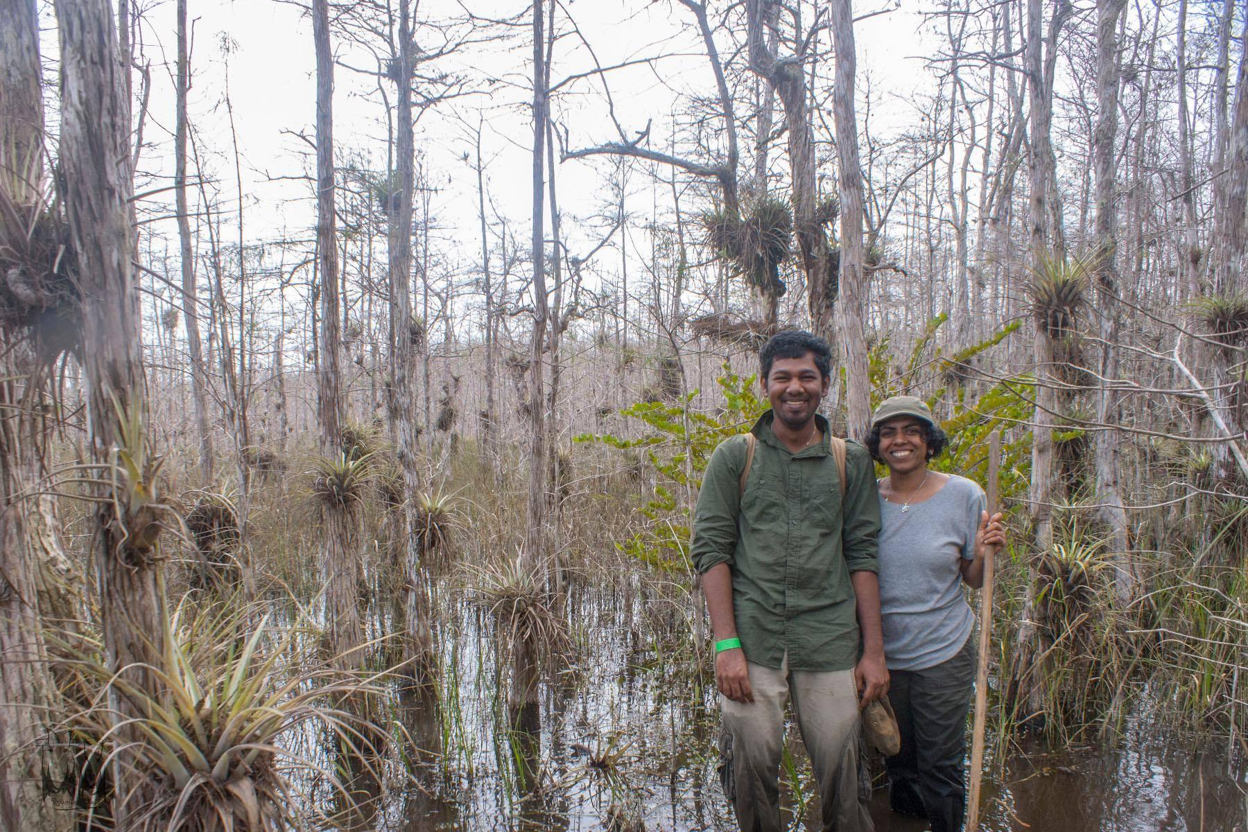 Vinod Sadhasivan in Everglades,Paulmathi Vinod,Everglades Cypress Swamp Walk,Clyde Butcher Swamp Walk