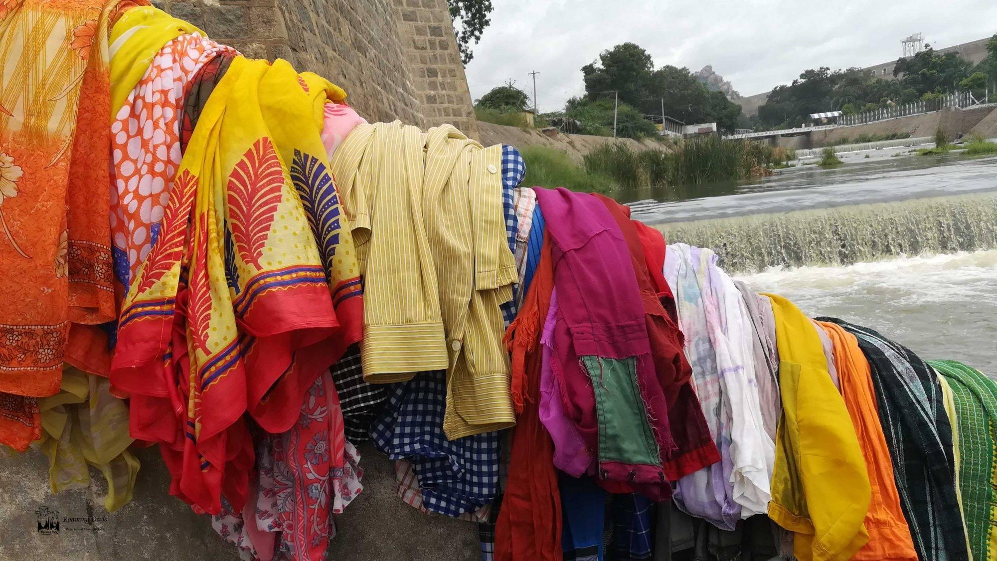 Tamilnadu Clothes, Cloth Washing river, cauvery washing