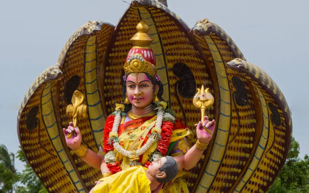 Colorfull deity,South India Goddess,Roadside temple