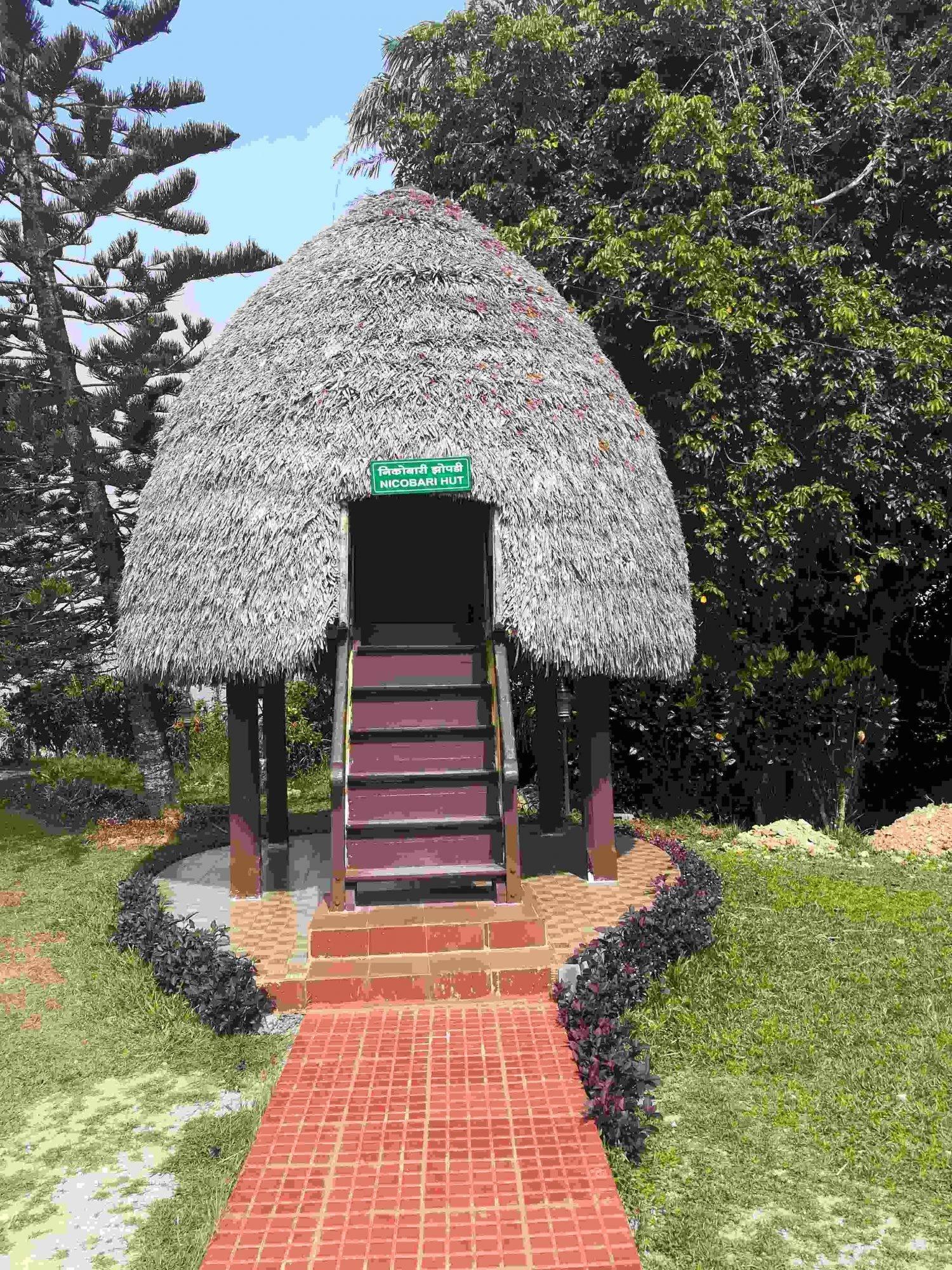 nicobari hut,andaman tribal hut,mount harriet hut
